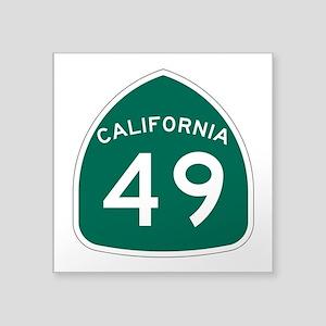 """Route 49, California Square Sticker 3"""" x 3"""""""