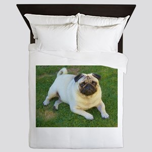 Pug lying down Queen Duvet