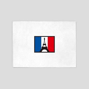 EIFFEL ON FRANCE FLAG 5'x7'Area Rug