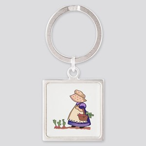 GIRL IN CARROT PATCH Keychains