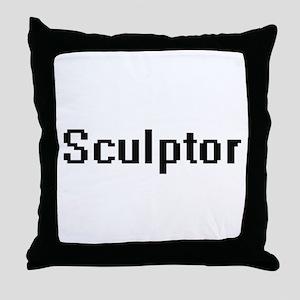 Sculptor Retro Digital Job Design Throw Pillow