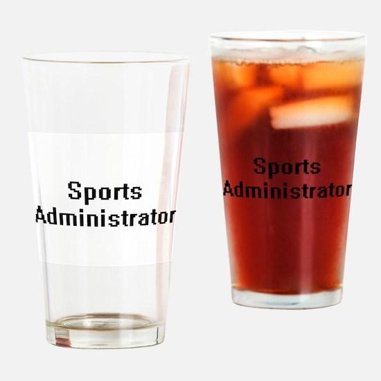 Sports Administrator Retro Digital Drinking Glass