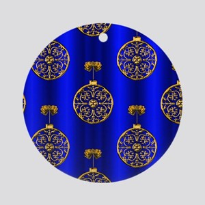 Gold Christmas Baubles Round Ornament