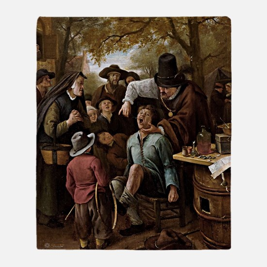 The Tooth Puller - Jan Steen Throw Blanket