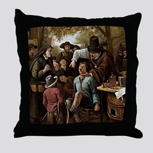 The Tooth Puller - Jan Steen Throw Pillow