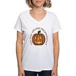 Gaelic Carved Pumpkin Women's V-Neck T-Shirt