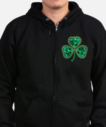 Cute Shamrocks Zip Hoodie (dark)