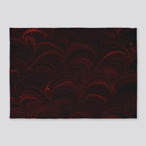 Black and Red Wave 5'x7'Area Rug