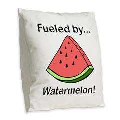 Fueled by Watermelon Burlap Throw Pillow