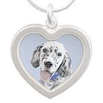 English Setter (Blue Belton) Silver Heart Necklace