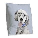 English Setter (Blue Belton) Burlap Throw Pillow