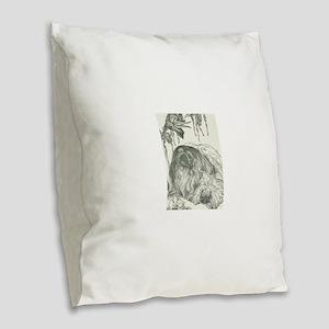 Pekingese, Orchids and Cockati Burlap Throw Pillow