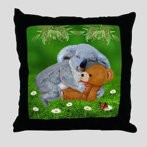 NAPTIME WITH TEDDY BEAR Throw Pillow