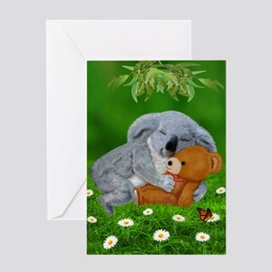 NAPTIME WITH TEDDY BEAR Greeting Cards