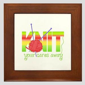 KNIT YOUR CARES AWAY Framed Tile