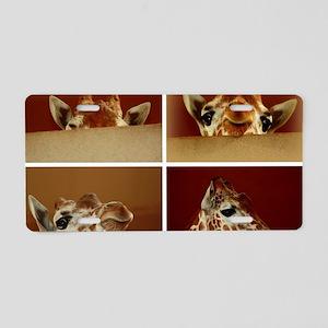 Giraffe Collage Aluminum License Plate