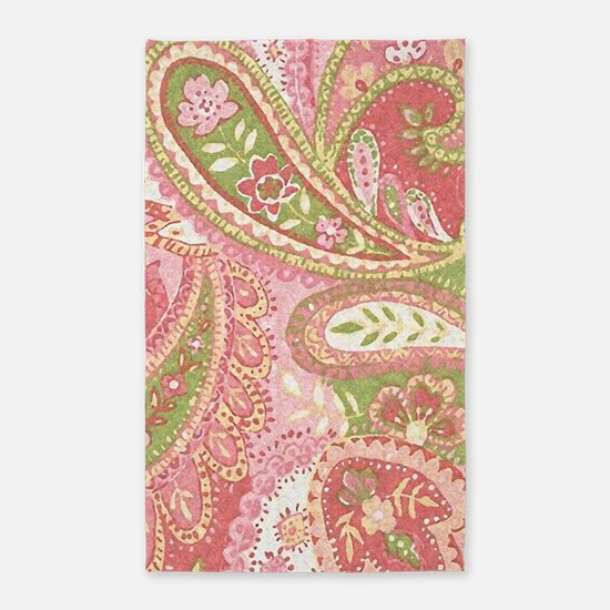 Baby Pink Paisley Watercolor Area Rug