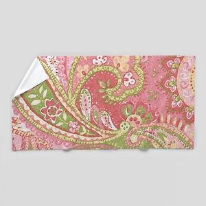 Baby Pink Paisley Watercolor Beach Towel