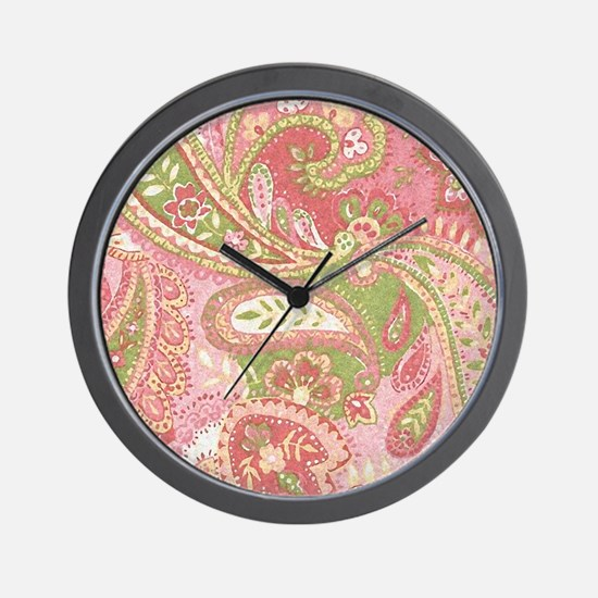 Baby Pink Paisley Watercolor Wall Clock