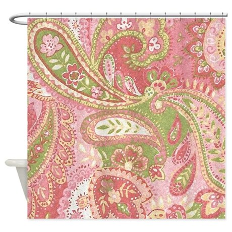 Baby Pink Paisley Watercolor Shower Curtain By DPeaGreenDesigns