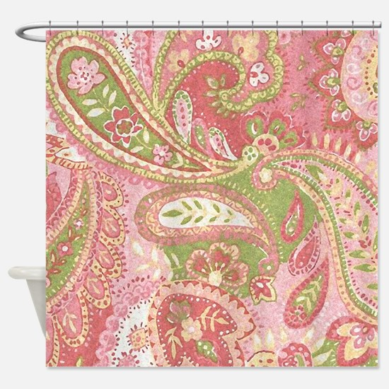 Baby Pink Paisley Watercolor Shower Curtain