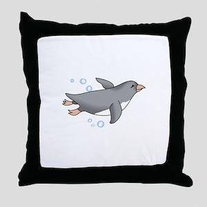 PENGUIN SWIMMING Throw Pillow