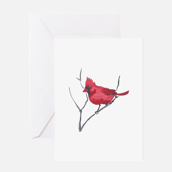 CARDINAL ON BRANCH Greeting Cards