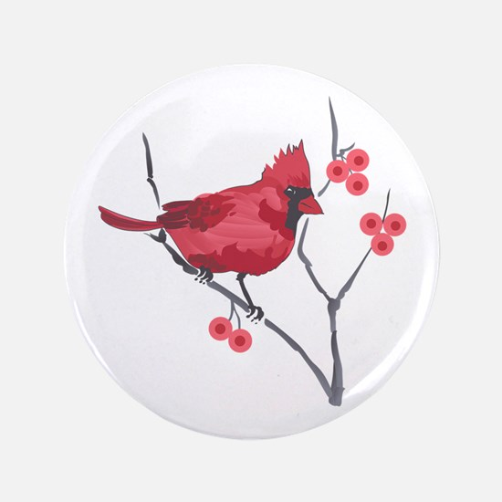 "CARDINAL AND BERRIES 3.5"" Button"