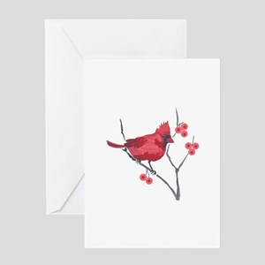 CARDINAL AND BERRIES Greeting Cards