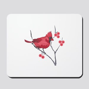 CARDINAL AND BERRIES Mousepad