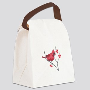 CARDINAL AND BERRIES Canvas Lunch Bag