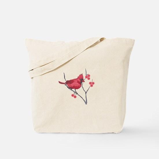 CARDINAL AND BERRIES Tote Bag