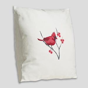 CARDINAL AND BERRIES Burlap Throw Pillow