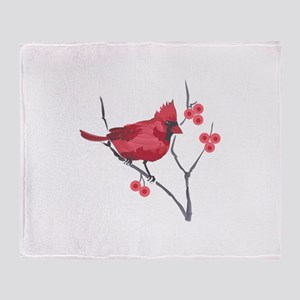 CARDINAL AND BERRIES Throw Blanket
