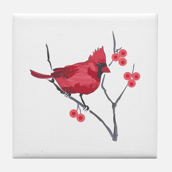 CARDINAL AND BERRIES Tile Coaster