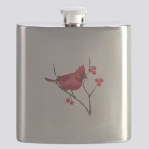 CARDINAL AND BERRIES Flask