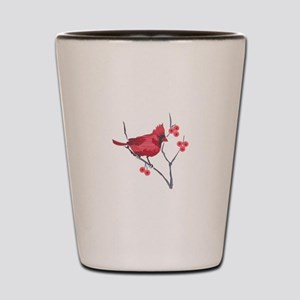 CARDINAL AND BERRIES Shot Glass