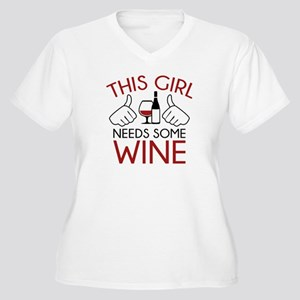 This Girl Needs Some Wine Women's Plus Size V-Neck