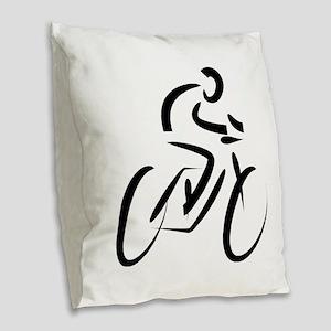 Cyclist Burlap Throw Pillow