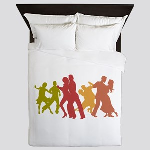 Colorful Tango Dancers Queen Duvet