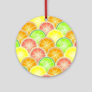 Citrus Fruit Pattern Ornament (Round)