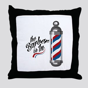 Barber Is In Throw Pillow