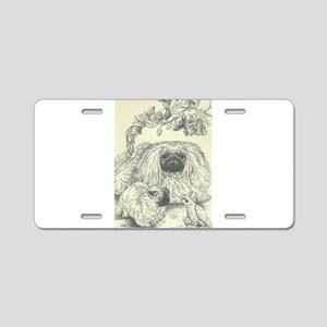Pekingese, Orchids and Cock Aluminum License Plate