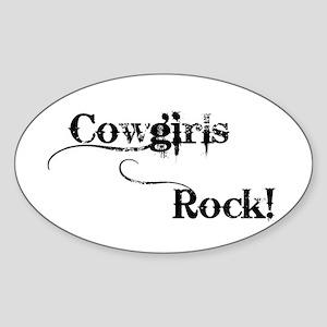 Cowgirls Rock Oval Sticker