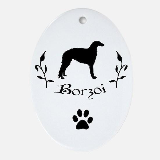 Borzoi Flower Vine Oval Ornament