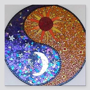 "Mosaic Sun & Moon Square Car Magnet 3"" x 3"""