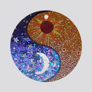 Mosaic Sun & Moon Round Ornament