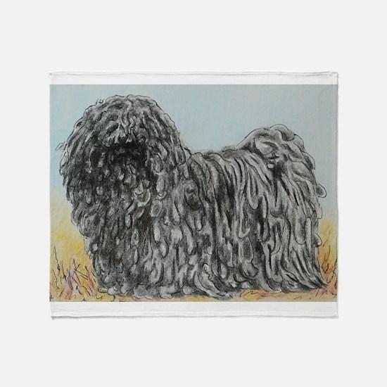 Black Puli (summer) Throw Blanket