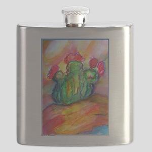 Cactus, bright southwest desert art Flask