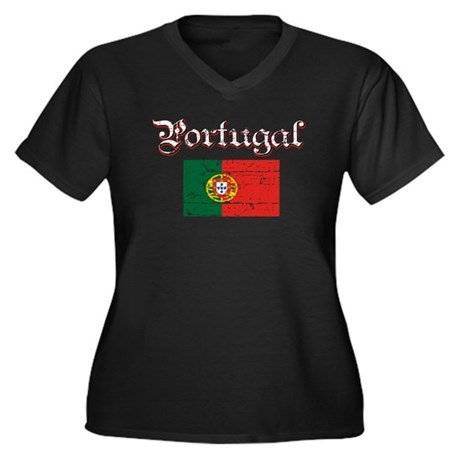 Portuguese Flag Women's Plus Size V-Neck Dark T-Sh